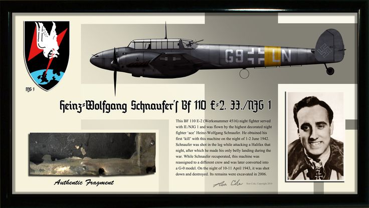 This BF 110 E-2 (Werksnummer 4516) night fighter served with II./NJG 1 and was flown by the highest decorated night fighter 'ace' Heinz-Wolfgang Schnaufer. He obtained his first 'kill' with this machi