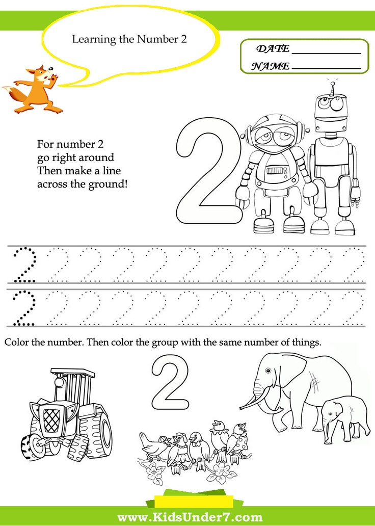Worksheets Number 2 Worksheet For Kindergarten 61 best images about numbers 1 5 kindergarten on pinterest math kids under 7 free printable number worksheets