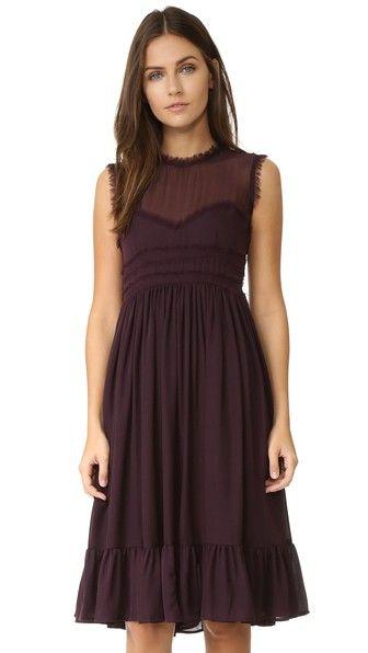 Cynthia Rowley Платье с оборками и необработанными краями