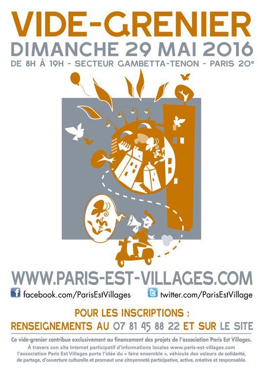 Notre grand vide-grenier de printemps aura lieu dimanche 29 mai 2016 dans le secteur Gambetta - Tenon #Paris20 #videgrenier Toutes les infos ici : http://www.gambetta-village.com/vide-grenier-paris-est-villages-printemps-2016-secteur-gambetta-hopital-tenon-75020-paris