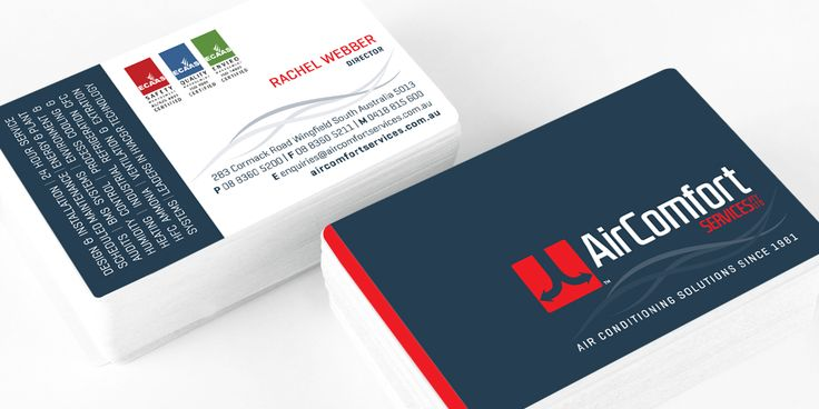 Air Comfort Services business card design by Icon Graphic Design Adelaide.