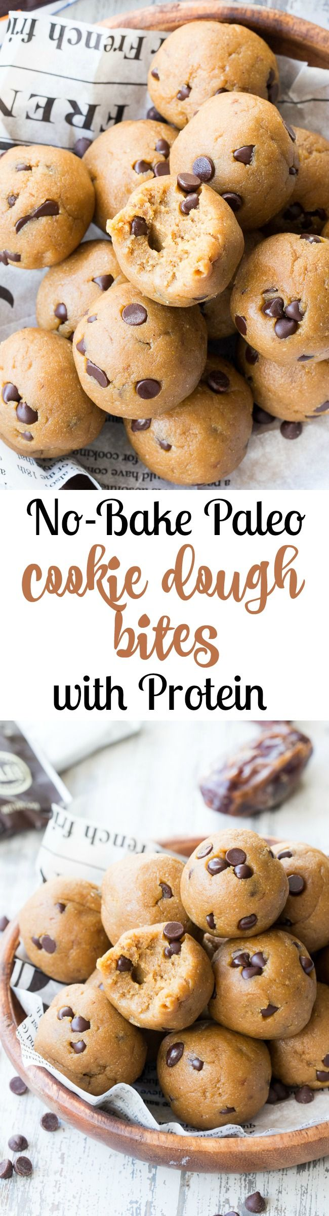 These tasty no-bake Paleo cookie dough bites are made with real-food ingredients, sweetened with dates and bananas and pack a punch of Paleo friendly protein along with the taste and texture of chocolate chip cookie dough!
