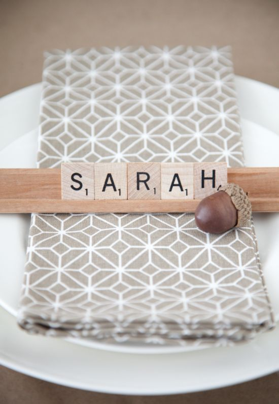 Scrabble Place Cards for Thanksgiving