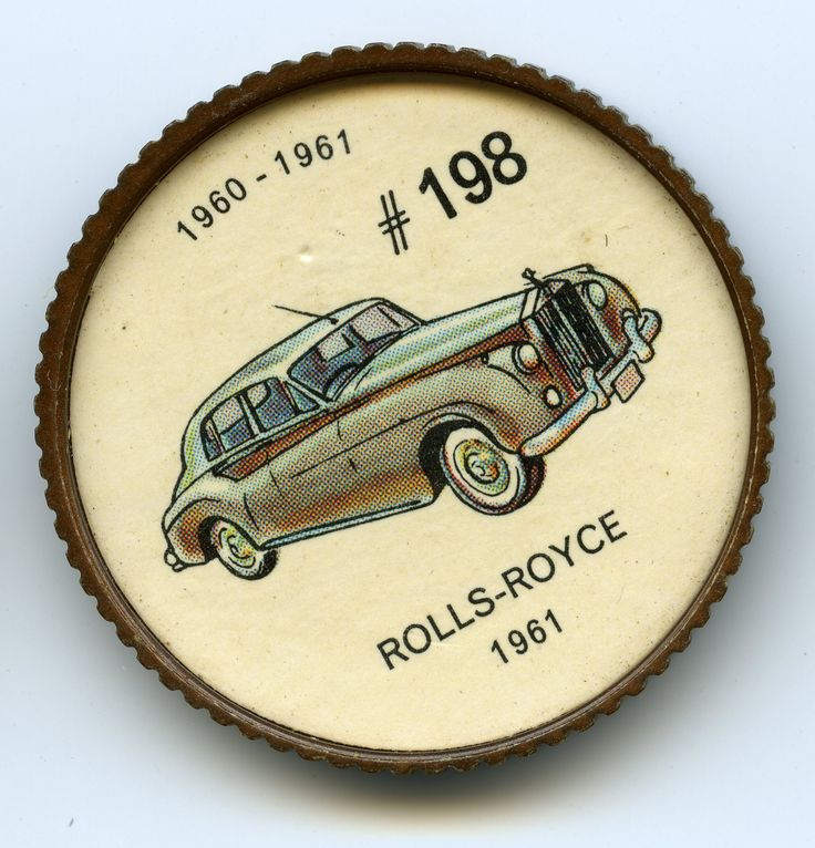 Jello-O Coin 198 - Rolls-Royce (1961) - No other automobile company enjoys the world-wide reputation for quality or prestige which is held by Rolls-Royce of England. The Phantom V model cost about S14,600. The Bentley S-2 saloon or sedan, identical except for the radiator, cost 5300 less. Luxurious carpeting, burled walnut interior and many coats of hand-rubbed lacquer were some of its quality features.
