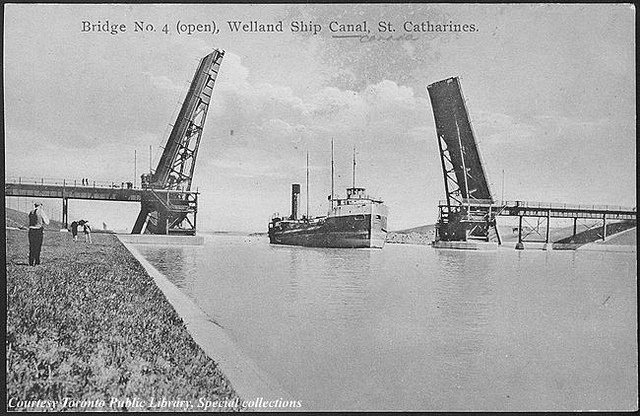 Bridge number 4 (open), Welland Ship Canal, St. Catharines, Ontario, Canada (ca. 1910) by Toronto Public Library Special Collections, via Flickr