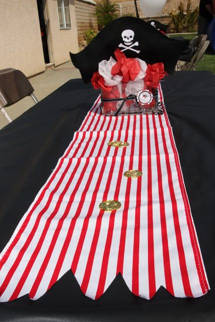 Pirate party decorations - Table Runner to match with a red/black Pirate color scheme.