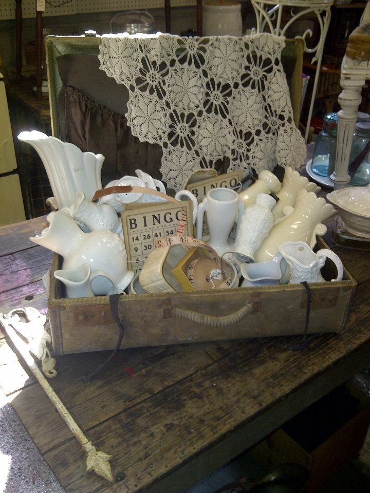 "❥ so many beauties~ via Midwest Memories Antiques******** adorable but not very ""shopable""...people hesitate to pick up if they think they might break something."