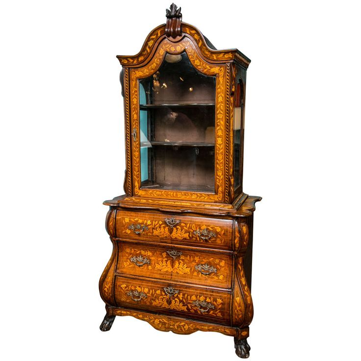 19th c  Antique Dutch Marquetry Display Cabinet with Bombe Drawers. 213 best antiques images on Pinterest   Antique furniture