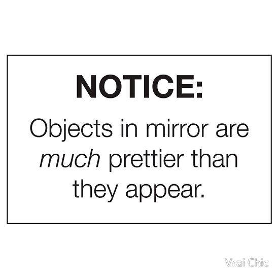"""Notice: Objects in Mirror"" Sticker - Pretty/Trendy/Hipster Meme"