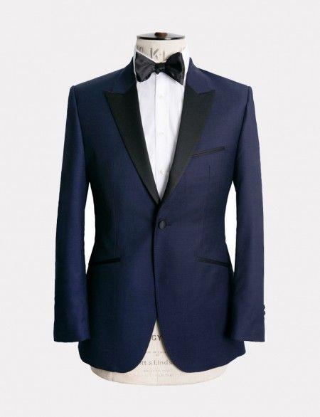 Navy Textured Evening Suit marcwallace.com