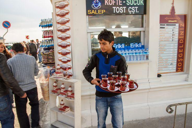 Turkish Tea Boy Near The Maiden's Tower, Istanbul