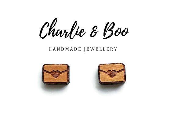 Heart Envelope Stud Earrings Raw Unfinished Wood