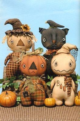 Primitive Pattern Stumpkins Scarecrow ,Pumpkin,Ghost ,and cat Dolls
