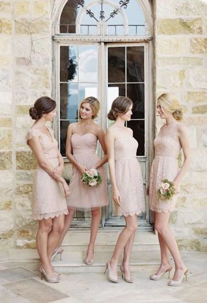 Photo: Caroline Tran, Dress: Jenny Yoo; Light pink bridesmaids dresses.
