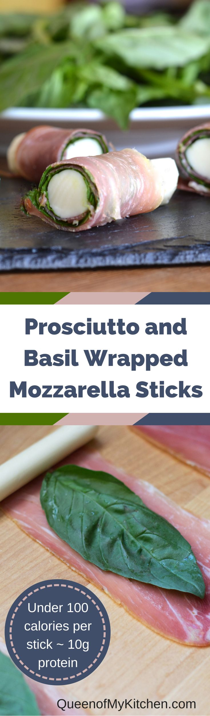 An easy and elegant appetizer or a protein packed under 100 calorie snack.  Mozzarella sticks are not just for lunch boxes!