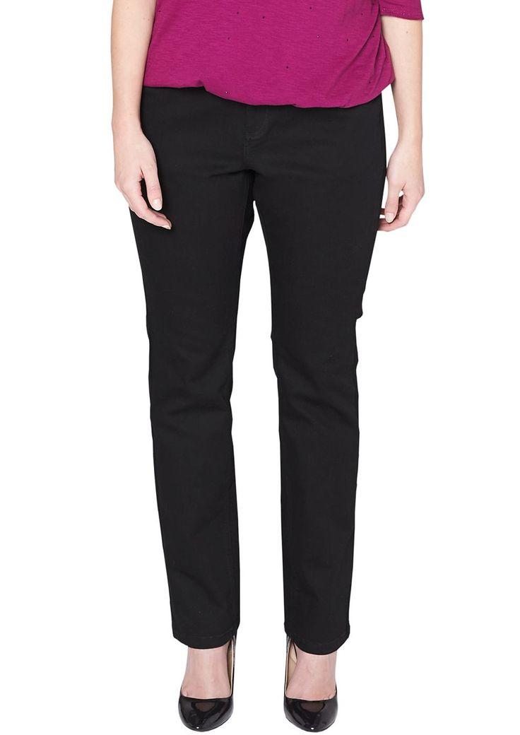 """Jeans Regelmäßige, schwarze Waschung. Beliebte 5-Pocket-Form. Figurbetonte Passform """"Kurvig"""" mit leicht vertieftem Bund und schmalem Bein für eine ausgeprägte Hüfte, einen runden Po und stärkere Oberschenkel. Leichter Denim mit geringem Stretchanteil. Die klassische, schwarze Jeanskommt zu High Heels elegant und lässt lässt Ihren Kombinations-Wünschen freien Lauf..  Materialzusammensetzung:Ober..."""