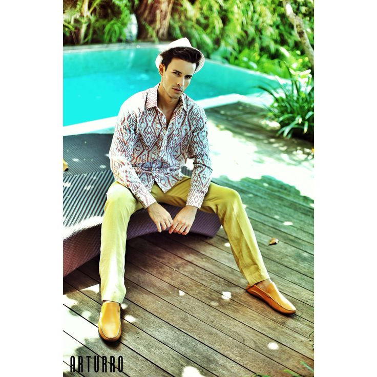 ARTURRO Men's Collection-Brown Ethnic Tribal Printed Cotton Shirt & Light Brown Linen Pants, #linenpants #shirt #pants #ethnicprintedshirt #resort #bali #smartcasual