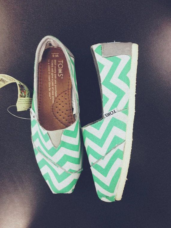 Mint Chevron Toms Women by ClarkCouturecom on Etsy