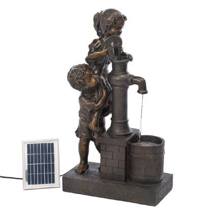 This solar-powered water fountain features two adorable children in cahoots to fill their pail with fresh water straight from the well pump. They are demonstrating the importance of working together while the solar-powered panel makes the water flow all day long.