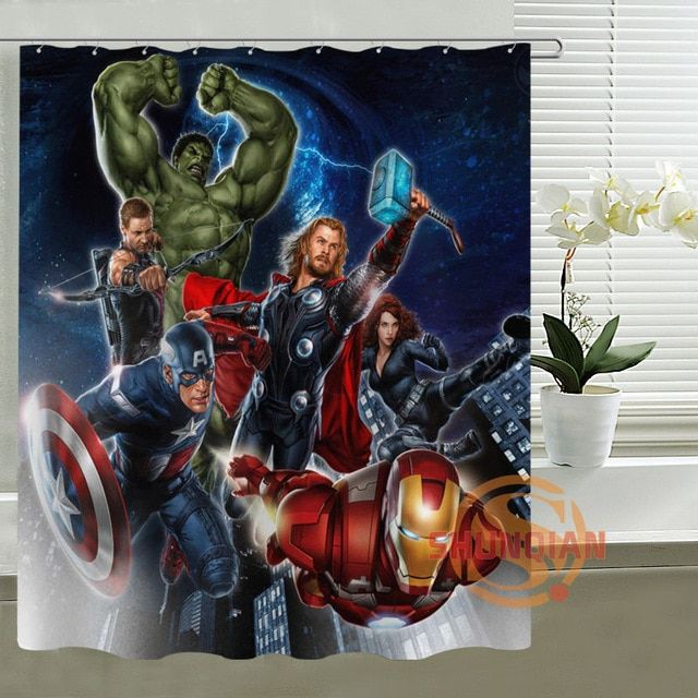 Custom The Avengers Captain America Thor All Heros Shower Curtain Hooks Waterproof Polyester Fabric P Printing On Fabric Shower Curtain Hooks Bathroom Curtains