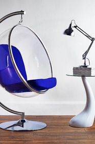 Royal Blue Bubble Lifestyle: Bubble Chair, Eames Side Table from Out There Interiors