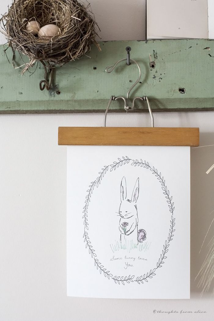 "Spring Easter Bunny FREE Printable! ""Some Bunny Loves You"" sweet hand drawn printable wall art"