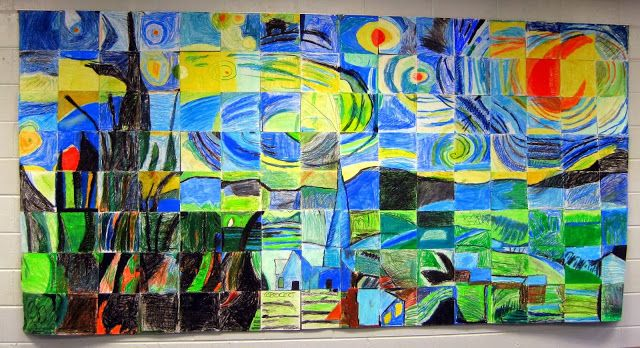 My talented friend Cassie had her students create this mural 2 yrs ago 2nd grade grid mural!