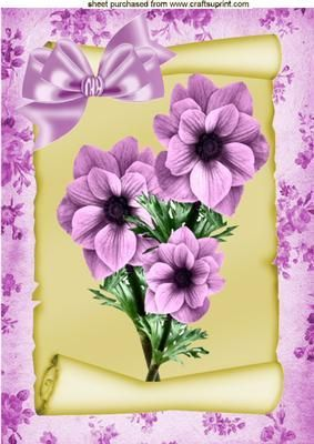 PRETTY PINK FLOWERS ON A SCROLL A4 on Craftsuprint - Add To Basket!: