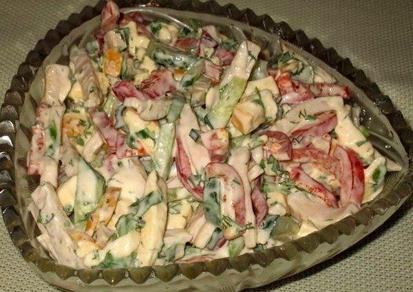 """Салат """"София"""" с копченым сыром   Наша кухня - рецепты на любой вкус!"""
