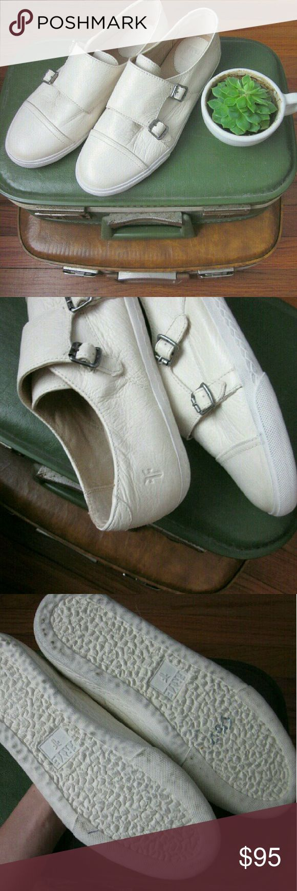 Frye Mindy Monk Strap Sneaker Leather 6 NWOB New without box! Uppers flawless. Perfect super soft antiques leather. Cushioned footbeds. Sold out online - website claims true to size. Round toe cap. Double monk strap buckle closure. Rubber soles look to be worn but are made that way - see stock photo. Color is Off white per nordstrom website. Almost cream. Bundle for best deals! Hundreds of items available for discounted bundles! You can get lots of items for a low price and one shipping fee…