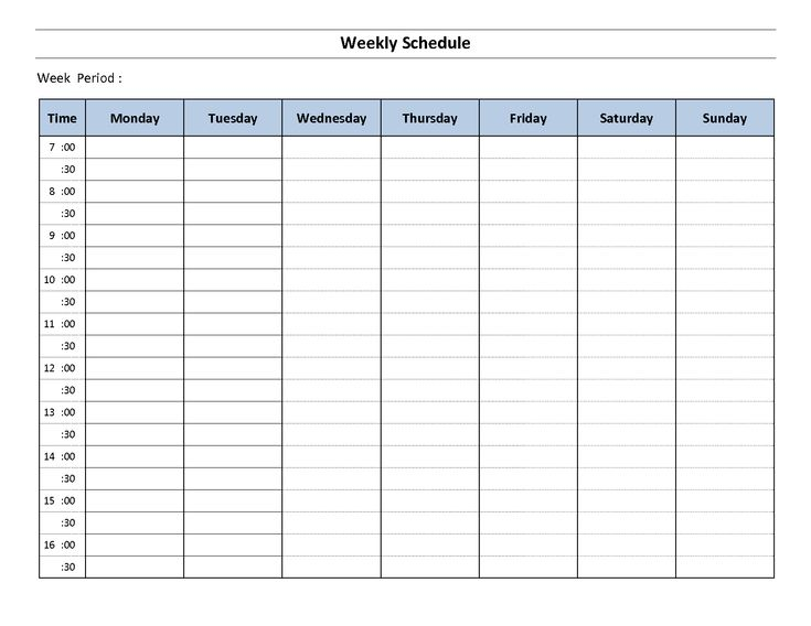 25 best ideas about Weekly schedule template excel – Construction Schedules Templates
