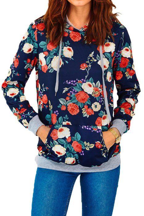 Cupshe Fashion Women Floral Printing Hooded Sweatshirt (XL)