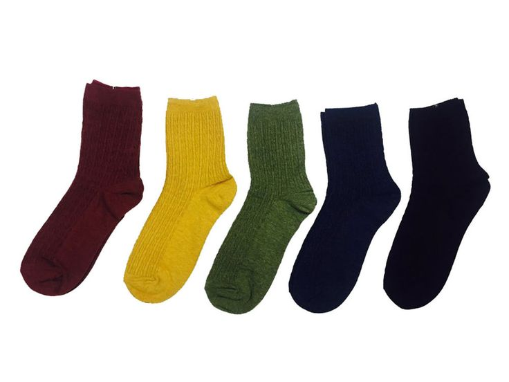 New Unisex Twisted-knit Pattern Cotton Socks (5 colors) #Unbranded