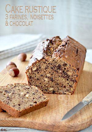 Cake rustique aux 3 farines, noisettes & chocolat (farine de châtaigne, farine de sarrasin, miel, noisette) IG modéré avec farine T150
