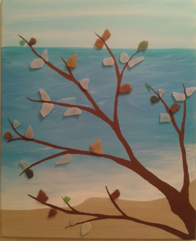 sea glass on painting
