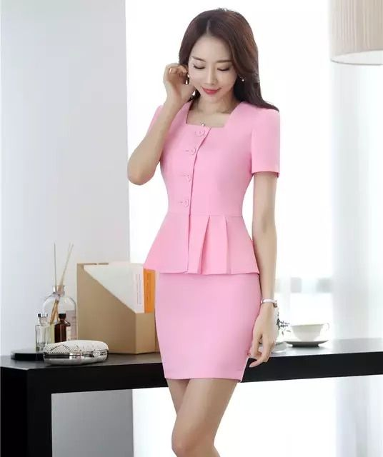 47f0a0cec Nuevo estilo 2018 mujeres negocios trajes unidades 2 piezas falda y Top  conjuntos Rosa chaqueta de manga corta Oficina señoras ropa de trabajo  uniformes