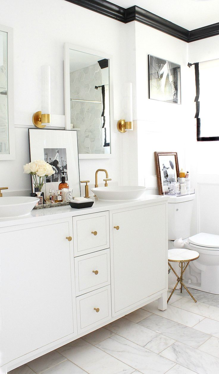 Black and gold bathroom ideas - Bathroom With Marble Gold Brass Faucets And Black And White Details From Fall Home