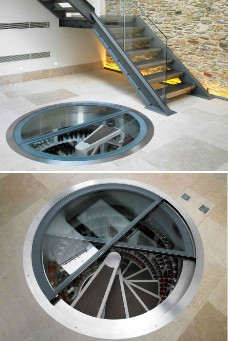 Hidden Spiral Wine Cellar. The water-tight, cylindrical system can store up to 1,900 bottles of wine. Because it relies on the surrounding earth for its insulation, and comes equipped with an air-flow system, it doesn't require any power to keep the wine at a constant temperature. The system was inspired by a spiral staircase from 1844 found at the Pont du Gard aqueduct in France.