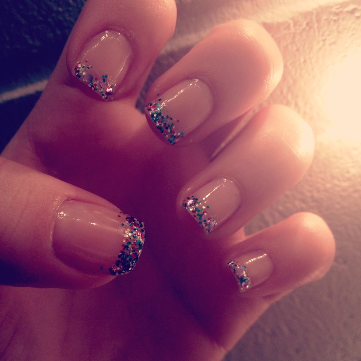 Coloured sparkled french manicure