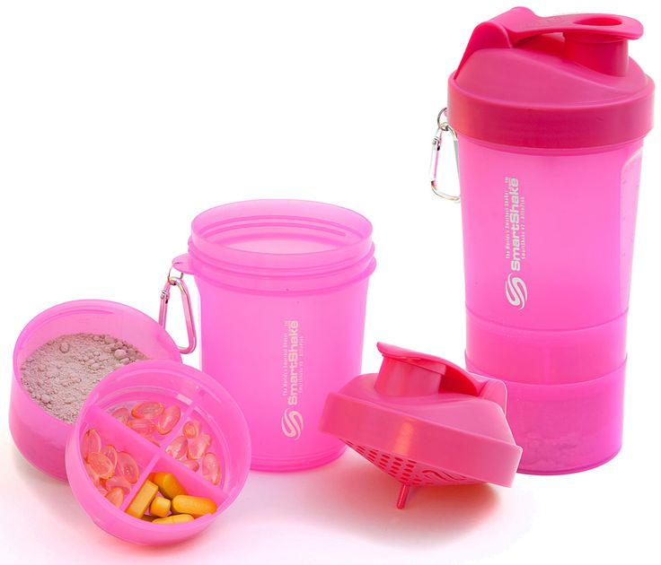 SmartShake Shaker Pink V2 20 oz - This is a GREAT idea, especially if you are traveling. I can take both my supplements and protein powder with me on a trip, in one compact bottle. The sifter is okay...think I would still borrow the ball from my BlenderBottle.