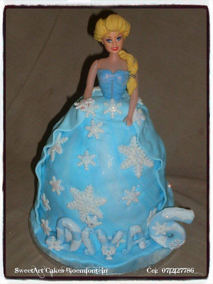 Frozen Elsa Doll Cake For more info or orders, Email SweetArtBfn@gmail.com or call 0712127786.  Connect with us on Facebook https://www.facebook.com/SweetArtCakesBfn