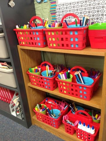 Each kid gets their own caddy with the same supplies in each... I like this but for an art room with 20 students crayon boxes seem like a better smaller scale alternative.