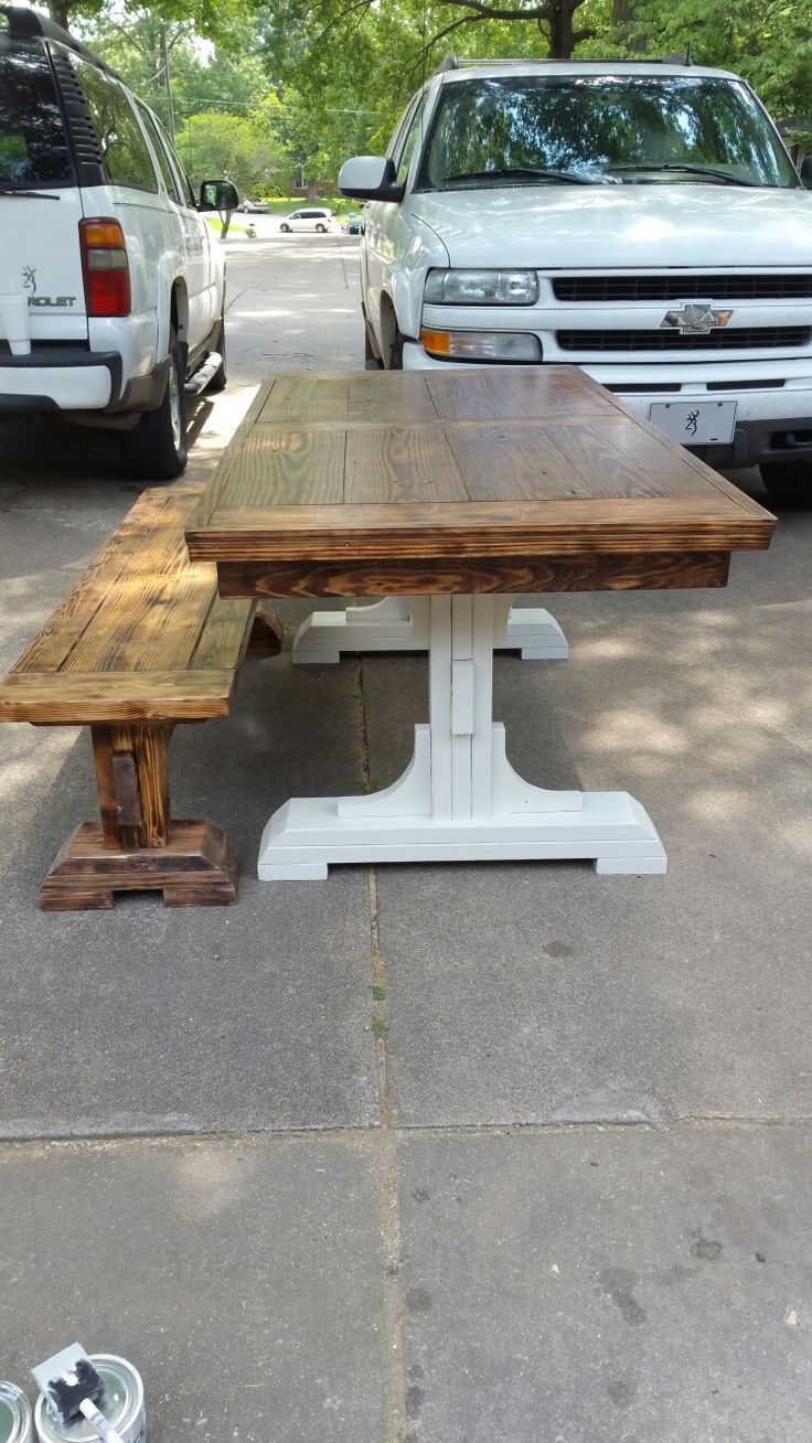 Custom Built Two Tone Farmhouse Table w/Bench Rustic