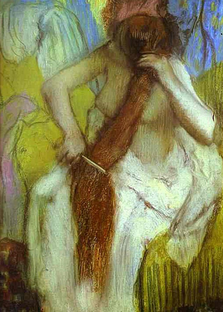 "Edgar Degas, (1834–1917), French artist painter, sculptor, printmaker, draftsman. ""Girl Combing her Hair"". Pastel on Paper. 57x82cms / 22.4x32.3inches. Musee d'Orsay, Paris, France."