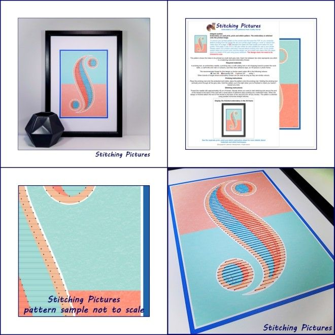 Mathematical Integral symbol A4 print and stitch on card paper pricking hand embroidery poster pattern for picture making SP-41