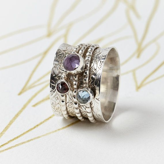 Chunky Gemstone Silver Spinning Ring with by CharlottesWebEtsy