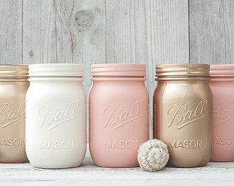 Peach and rose gold wedding, painted mason jar, wedding centerpieces and party decor, rustic decor, barn Wedding Decorations