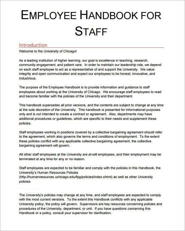 Employee Handbook Examples Employee Handbook Template Employee Handbook Employee Training