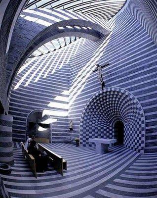 Mario Botta - the Chiesa di San Giovanni Battista at Fusio. Switzerland