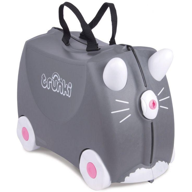 La valise Chat Benny grisepar Trunki est pratique, fiable et ludique et permettra à votre enfant de participer activement au voyage tout en s'amusant !